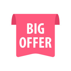 Big offer Label. Isolated on white. Red color.