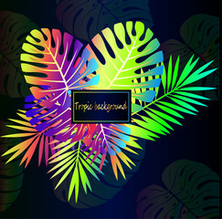 Neon tropical leaves, close-up on a beautiful dark gradient background. Tropic pattern - trend of the season