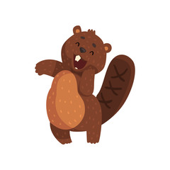 Shy little beaver with cute muzzle. Adorable forest animal with little ears, shaped tail and big teeth. Cartoon rodent character. Flat vector for sticker, print or book
