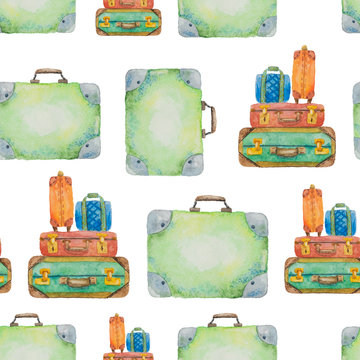 Seamless pattern about travel from suitcases drawn in watercolor on a background