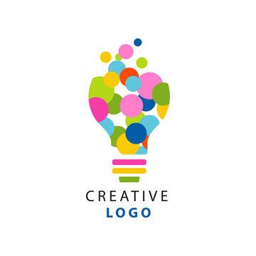 Original illustration of electric light bulb for creative idea logo. Children creativity and development center label. Flat vector isolated on white
