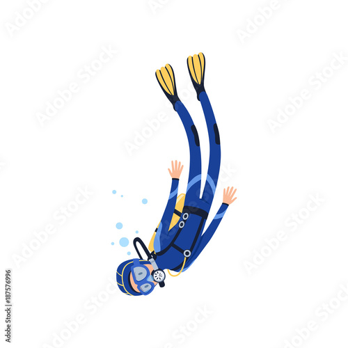 66d51d38a3a Cartoon man character engaged in scuba diving in sea. Diver in blue  wetsuit