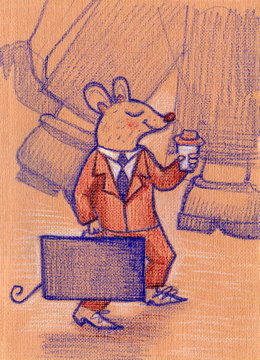 Good little mouse in suit with coffee goes to work