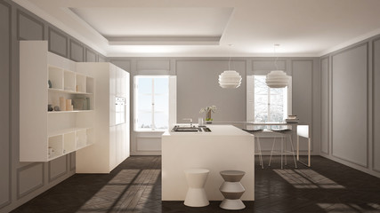 Modern kitchen furniture in classic room, old parquet, minimalist architecture, white and gray interior design