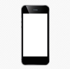 black smartphone on with a white screen on a transparent background