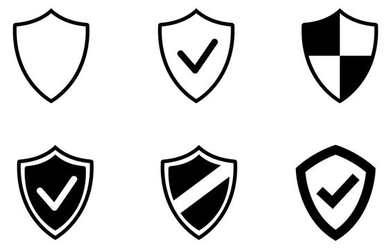 Black web security shield vector icons pack