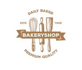vintage bakery pastry logo design set