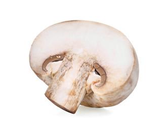 half cut of champignon mushroom isolated on white background
