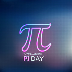 International Pi Day!  Mathematical constant number. March 14th. Neon logo.Vector illustration.