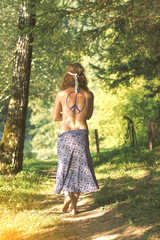 Pretty free hippie girl. Peace. Body painting - Vintage effect photo effect