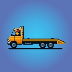 Empty Tow truck pixel art vector illustration