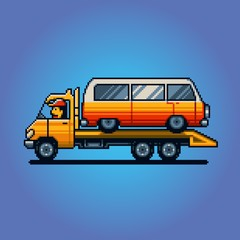 Tow truck pixel art vector illustration