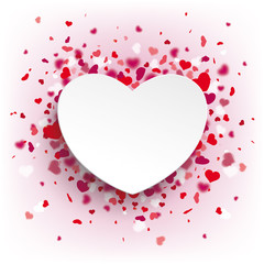 White Paper Heart Pink Background Confetti
