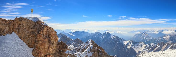 Zugspitze top of Germany panorama Alps mountain range, Garmisch Partenkirchen, Germany Wall mural