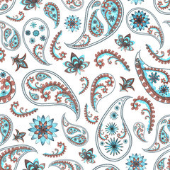 Paisley oriental floral pattern