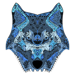 Wolf head zentangle stylized vector illustration