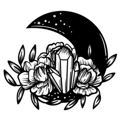 Moon crystal with peony flowers. Beautiful illustration with crystal quartz,moon and flowers.
