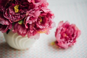 Beautiful  bunch of peony. Spring or summer lovely bouquet. Card, text place, copy space. Wallpaper, trendy color.