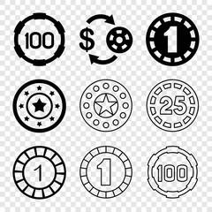 Set of 9 blackjack filled and outline icons