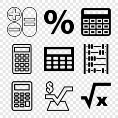 Set of 9 calculation filled and outline icons