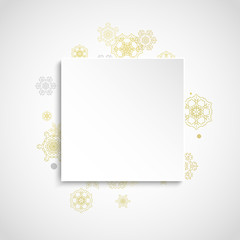 Glitter snowflakes frame on white square background. Paper Christmas and New Year frame for gift certificate, ads, banners, flyers. Falling snow with golden glitter snowflakes for party invite