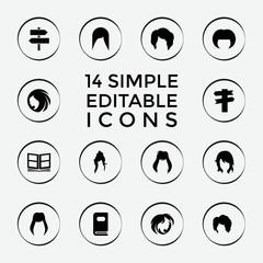 Set of 14 different filled icons