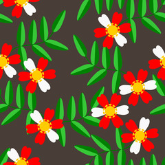 Seamless pattern vector of white flowers and green leaves.