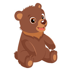 Spoed Foto op Canvas Kids Cute Happy Little Bear Vector Illustration. Smiling Teddy Bear. Cartoon Vector Character On White Background.