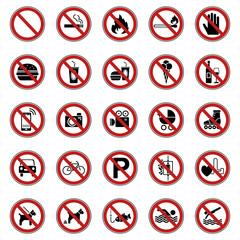 25 Verbots- & Warnschilder (Rot)