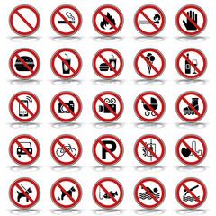 25 Verbots- & Warnschilder (in Rot)