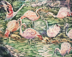 batik painting of flamingos
