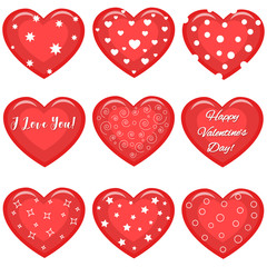 Set of cute red hearts with text and different patterns.