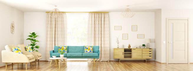 Modern interior of living room panorama 3d rendering