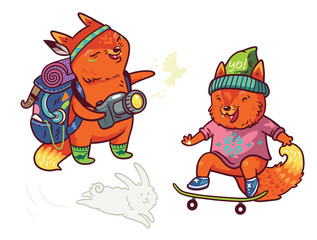 Two cute baby fox characters in cartoon style. Tourist and skater