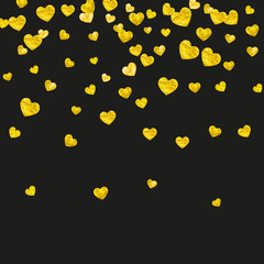 Heart border for Valentines day with gold glitter. February 14th day. Vector confetti for heart border template. Grunge hand drawn texture. Love theme for gift coupons, vouchers, ads, events.