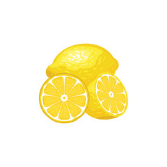 Three lemons whole and slices isolated on white background. Vector illustration. Healthy food design. ingredients for cooking.