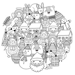 Merry Christmas circle shape pattern for coloring book. Vector illustration
