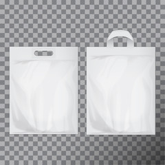 Set of empty white blank plastic bag mock up isolated. Consumer pack ready for logo design or identity presentation. Commercial product food packet handle