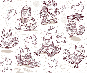 Seamless pattern with foxes characters in outline