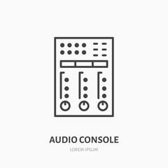 Audio console flat line icon. Sound board, audio equipment rental sign. Thin linear logo for radio, music festival.