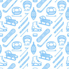 Winter sports blue colored seamless pattern, equipment rental at ski resort. Vector flat line icons - skates, hockey sticks, sleds, snowboard, snow tubing. Cold season outdoor activities.