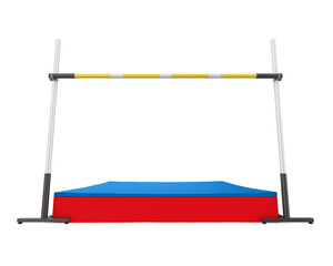High Jump Landing Mat and Bar Isolated