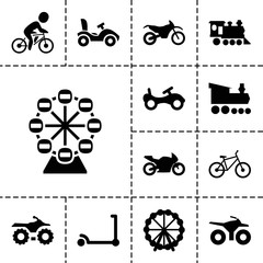 Ride icons. set of 13 editable filled ride icons