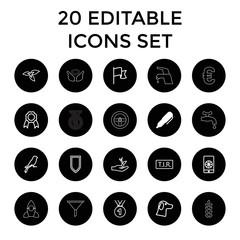 Emblem icons. set of 20 editable outline emblem icons