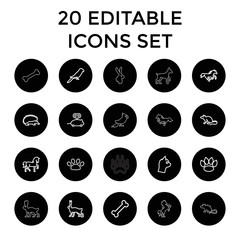 Pet icons. set of 20 editable outline pet icons