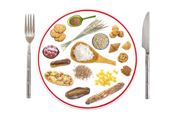 prepared food plate for people allergic to gluten on grey slate background, red line through plate , prohibition sign