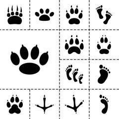 Footprint icons. set of 13 editable filled footprint icons