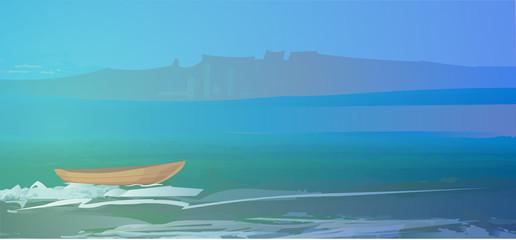 Boat on the sea beautiful landscape vector illustration