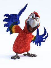 3D rendering of cartoon parrot talking.