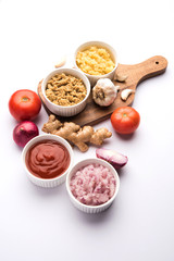 Ginger,  Garlic, onion and tomato paste or Sauce. Basic Indian food ingredients. Selective focus